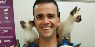 Bojan Lukač i četiri mačke